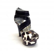 Black, Brown and White leopard Printed High Heels