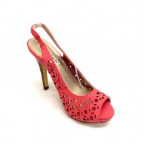 Open Toe Pink Cut Out Sling Back High Heels