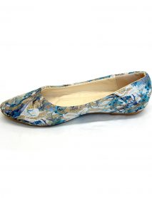 Floral Pattern Flat Ballerina Shoes - Blue