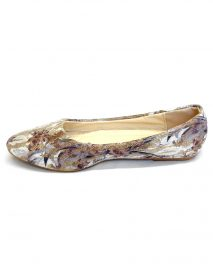 Floral Pattern Flat Ballerina Shoes - Brown