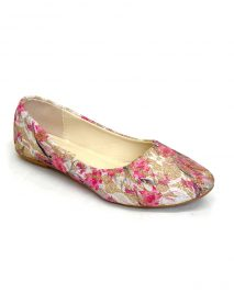 Floral Pattern Flat Ballerina Shoes - Pink
