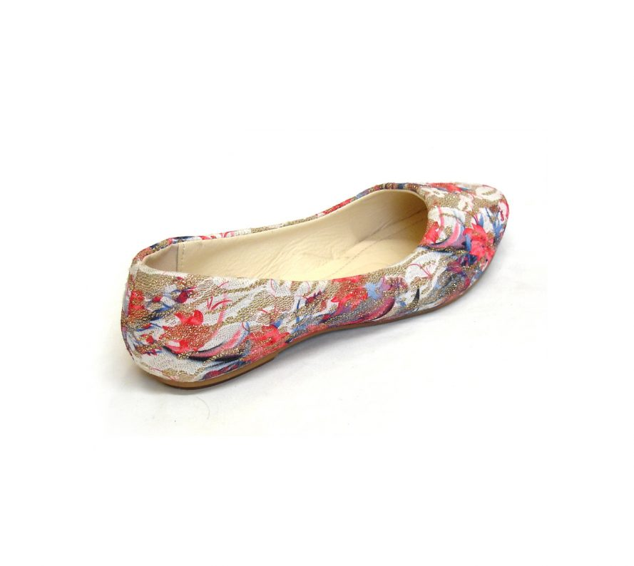 Floral Pattern Flat Ballerina Shoes - Red