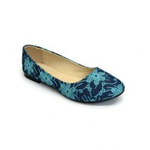 Blue Flat Shoe With Blue Flowers