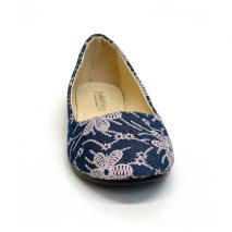 Blue Flat Shoe With Violet Flowers