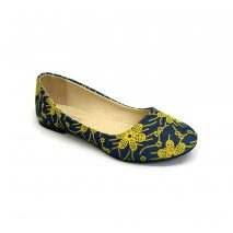 Blue Flat Shoe With Yellow Flowers