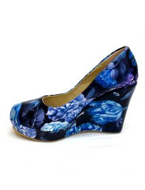 Blue Floral Pattern Wedge High Heels