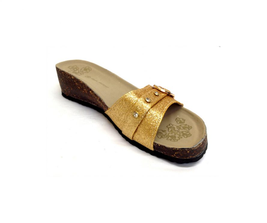 Sparkly Gold Low Heel Sandals With Buckle