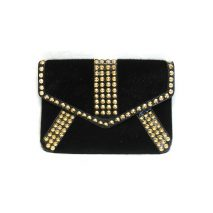Ladies Studded Fluffy Black Clutch Bag