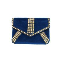 Ladies Studded Fluffy Blue Clutch Bag