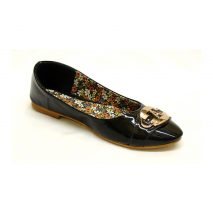 Black Glossy Flat Shoes With Sparkly A