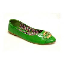 Green Glossy Flat Shoes With Sparkly A