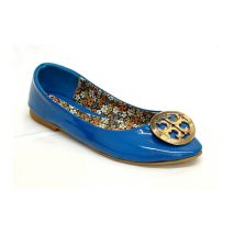 Blue Glossy Flat Shoes With Round Ornament