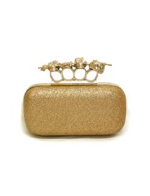 Evening Ladies Bag In Glitter Gold