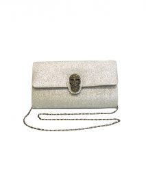 Clutch Evening Bag - Glitter Silver