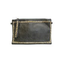 Ladies Studded Faux Leather Grey Clutch Bag