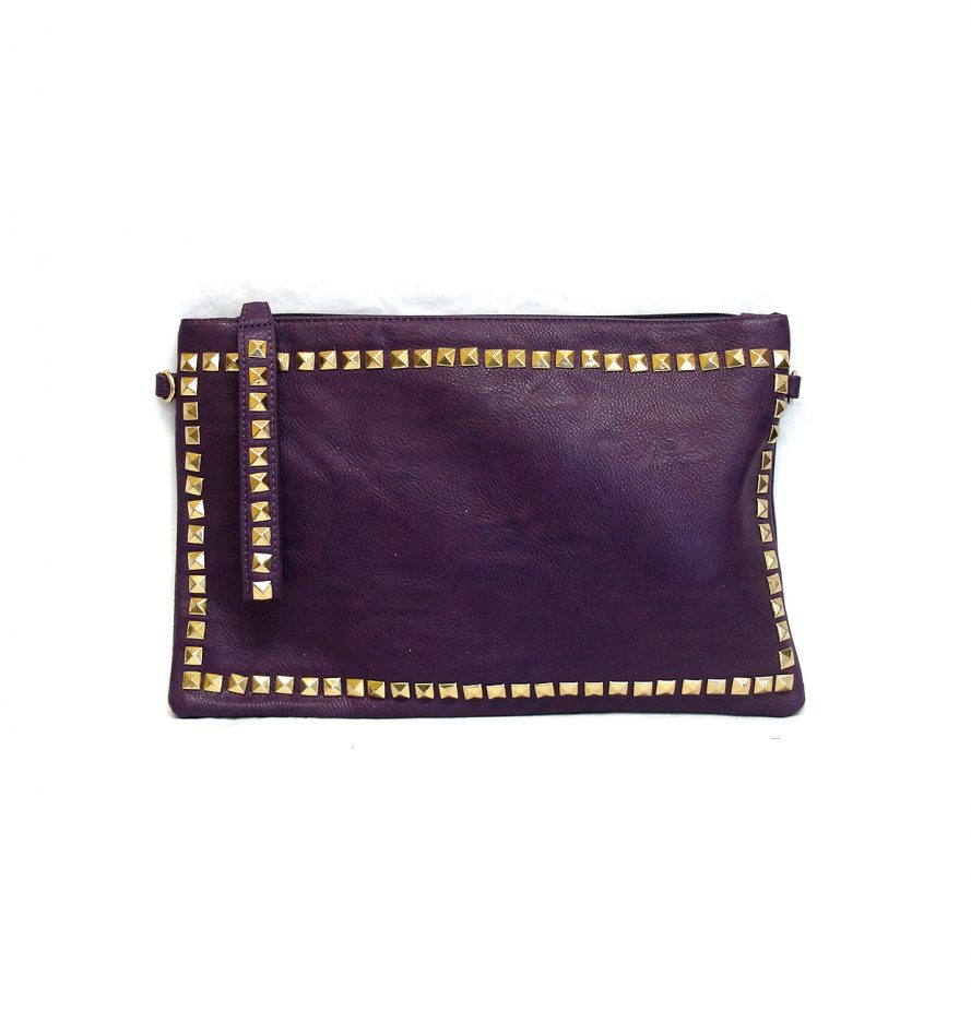 Ladies Studded Faux Leather Purple Clutch Bag