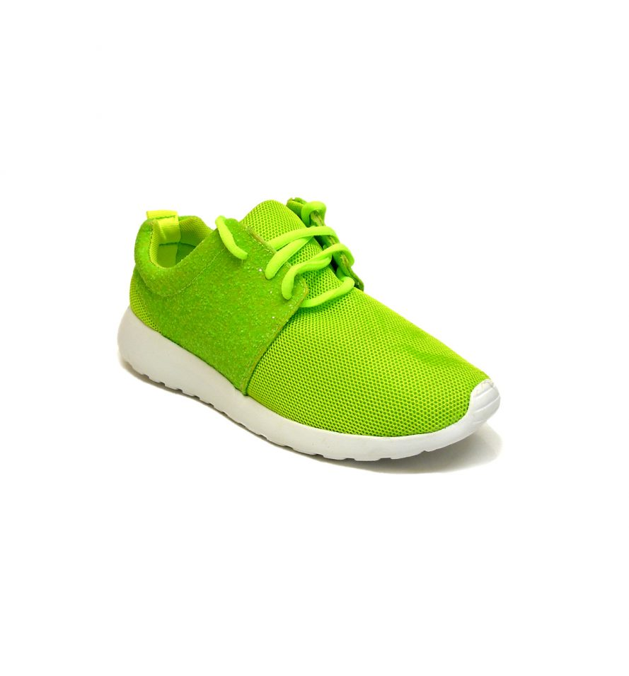 Ladies Trainers Comfy Lace Up Shoes In Green