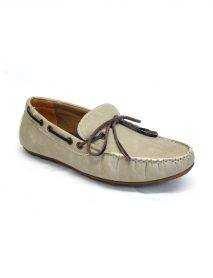 Moccasin Gents Shoes With Laces In Grey
