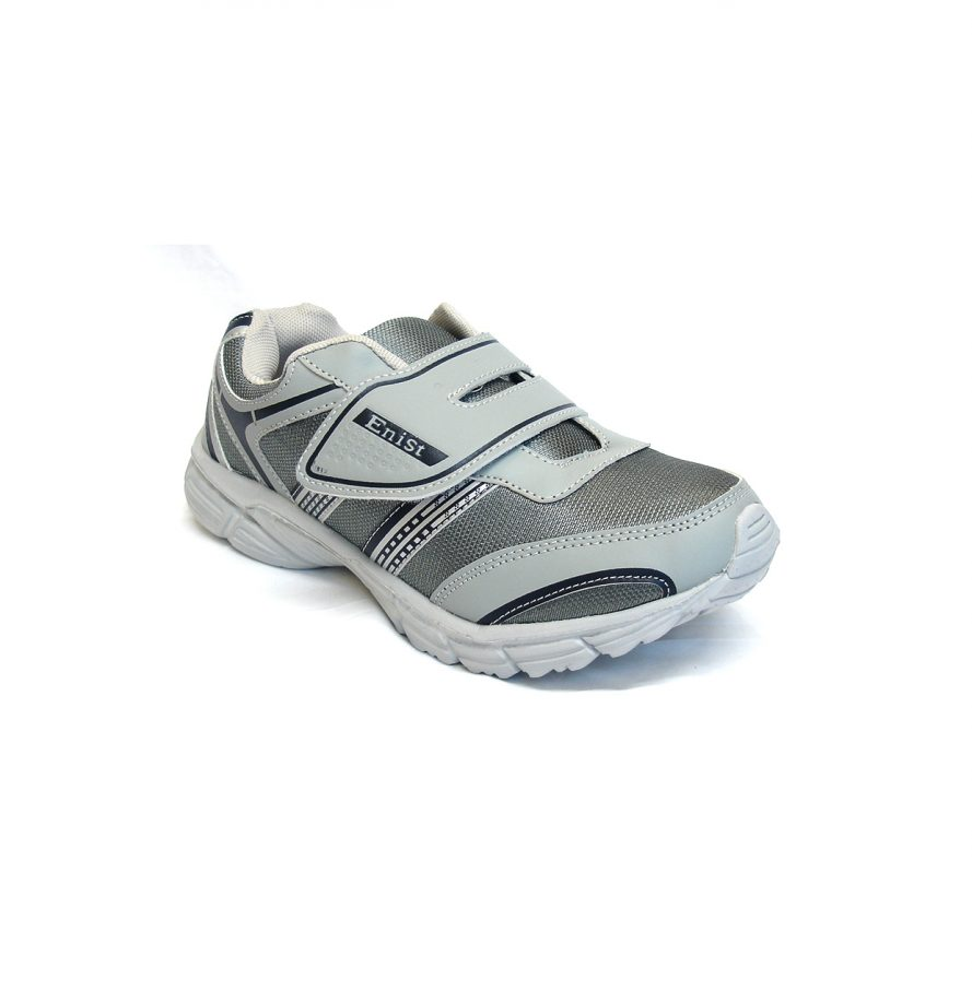 Grey Men Trainer Shoes With Quick Fasten