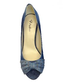 Denim Court Mid Heels In Classic Blue