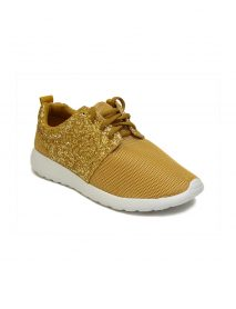 Ladies Trainers Comfy Lace Up Glitter Gold Shoes