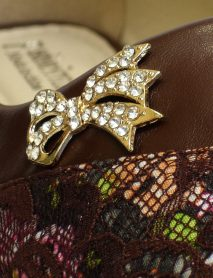 Brown Flat Shoe With Rhinestone Bow