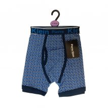Novelty Cotton Blend Blue Men Trunks With Geometric Pattern