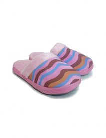 Comfy Pink Ladies Slippers With Wavy Pattern