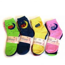 Rich Cotton Ankle Ladies Socks (Moon Owls)