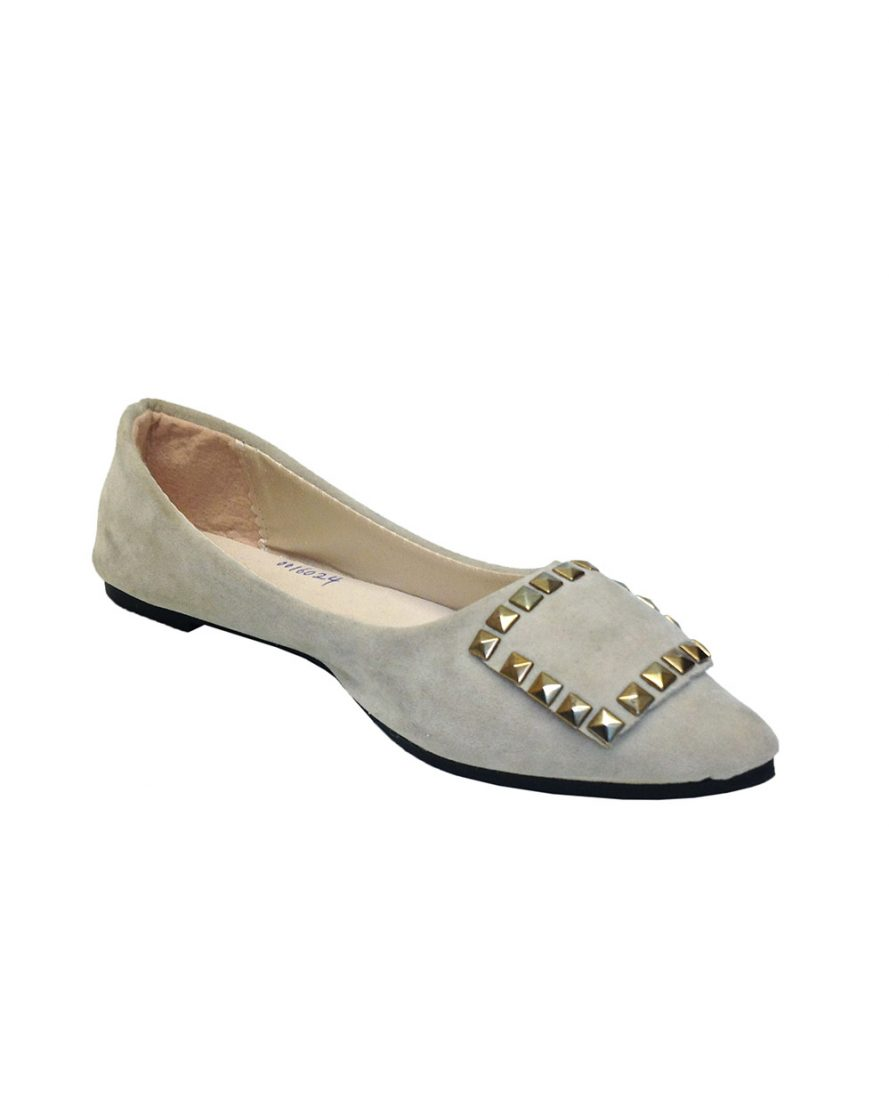 Square Studs Decorated Flat Shoes - Blue