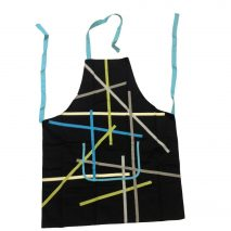 Apron Black with Colourful Striped Design