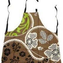 Apron Brown with Flower Art Design
