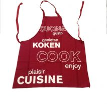 Apron Red 'Cook enjoy' Writing in Various Languages