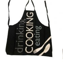 Apron Black 'Drinking Cooking Eating' Writing