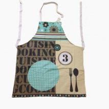 Apron Creme/Brown with Writing,Pattern and Image
