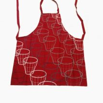 Apron Dark-red with Glasses Printed