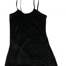 Ladies Short Velvet Nightdress Black