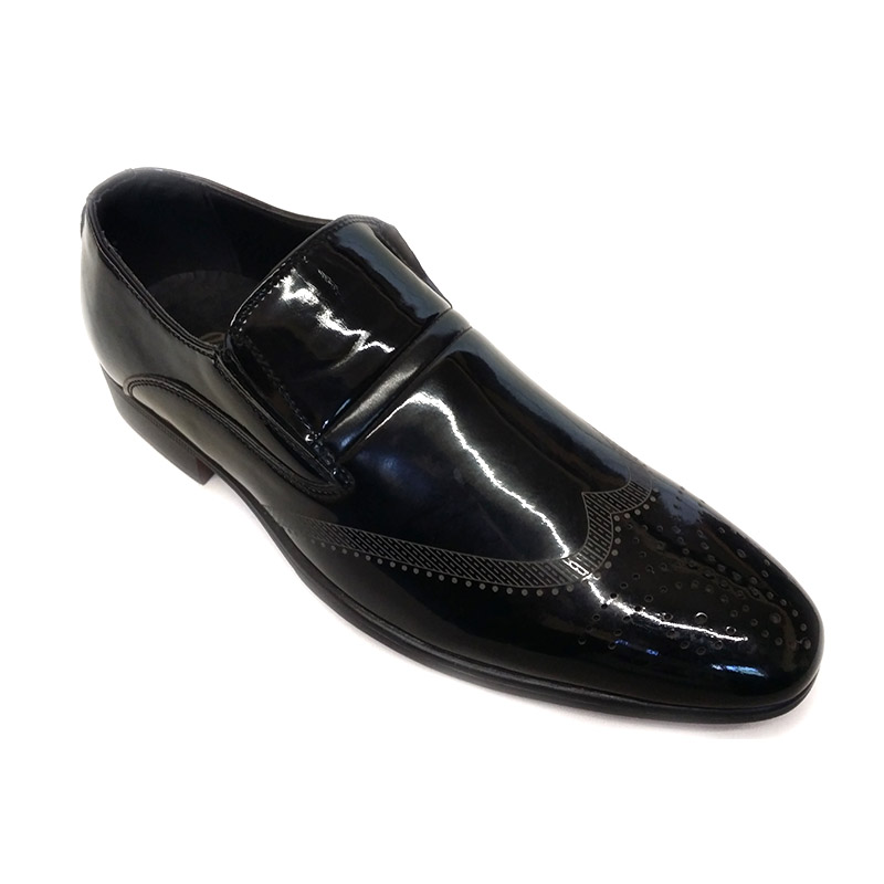 213 - Black - Men's Formal Lase-less Shoes