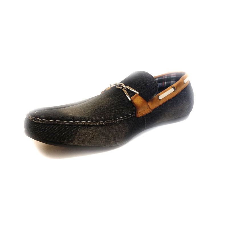 24816 -Black- Men's Stylish Denim Flat Shoes