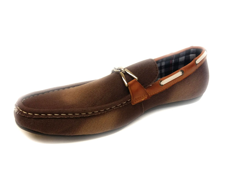 24816 -Brown- Men's Stylish Denim Flat Shoes
