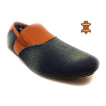 24866 - Men's Stylish Leather/Denim Mix Flat Shoes
