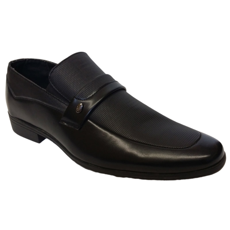 504 - Black - Men's Formal Shoes with Strap