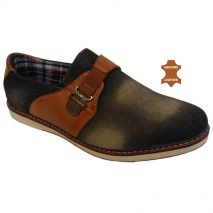 6011 - Black - Men's Casual Denim-Leather Shoes