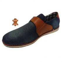 6011 - Blue - Men's Casual Denim-Leather Shoes
