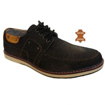 6012 - Black - Men's Casual Denim-Leather Shoes
