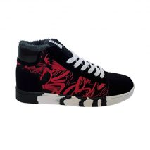 6070 -Black/Red- Men's Ankle High Trainers with Design