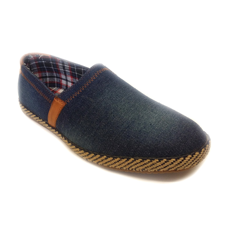 80231 -Blue- Men's Stylish Casual Denim Shoes with Leather Stripe