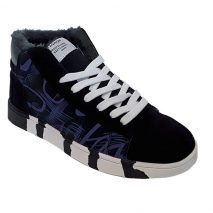 6070 -Black/Blue- Men's Ankle High Trainers with Design